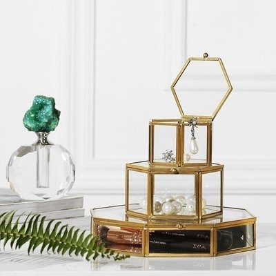 〖洋碼頭〗歐式復古銅金色六角珠寶首飾盒收納展示盒 軟裝飾品擺件 shx331