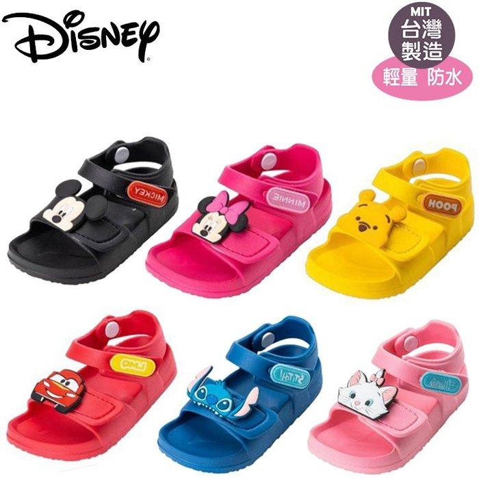 童鞋/正版Disney迪士尼米奇.米妮 維尼.麥坤.史迪奇超輕量可調式防水涼鞋1 4-18號