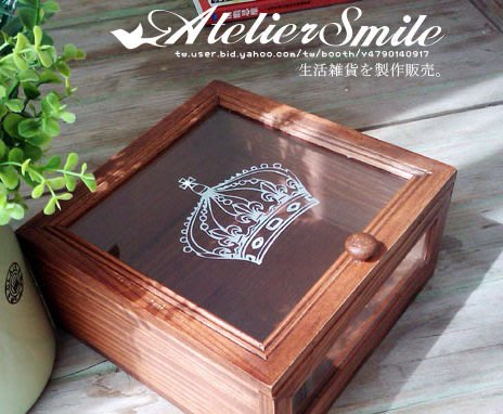 [ Atelier Smile ] 鄉村雜貨 方型皇冠原木玻璃首飾收納盒 雜物盒 (現+預)