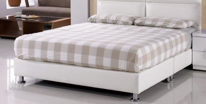 【DH】貨號N582-3名稱《莉莎》5尺白皮雙人床底腳高8CM(圖一)備有腳高12CM/黑皮可選.台灣製可訂做.新品特價