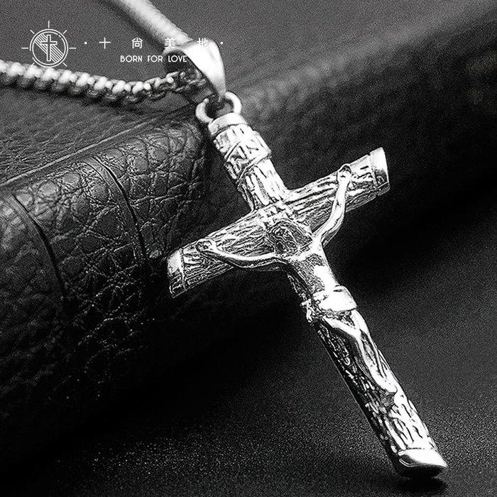 Lissom韓國代購~牧人 大款耶穌十字架項鍊鈦鋼男士吊墜懺悔不退色歐美運動款掛墜