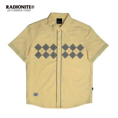 美國東村【RADIONITE】Diamond Plaid Shirt 英倫 菱格紋襯衫 可反折 鵝黃