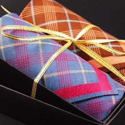 手帕禮盒 純棉方巾(兩件套)-英倫時尚格紋紳士男配件2色73gd20[獨家進口][米蘭精品]
