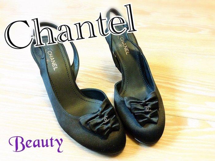*Beauty*CHANEL黑色蝴蝶結緞面拉帶高跟鞋 WE15 37.5號