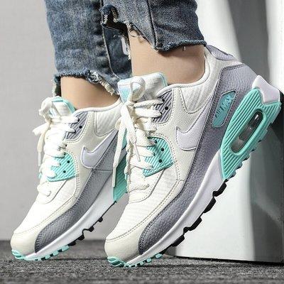Nike Air Max 90 白灰綠 網面透氣 氣墊 休閒運動慢跑鞋 325213-140 女鞋