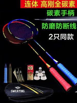 羽毛球SWEATING羽毛球拍2支裝正品全碳素成人進攻型雙拍羽拍單耐打套裝球拍