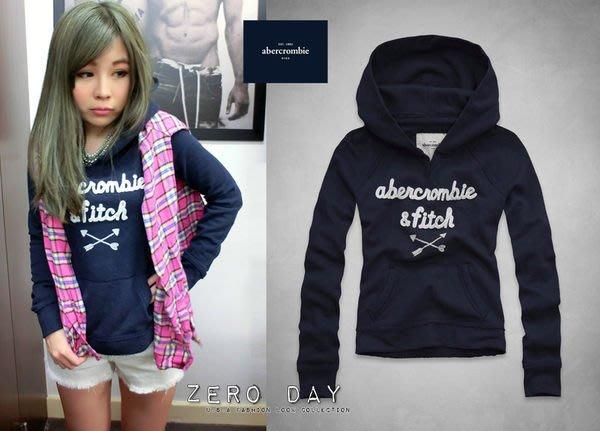 【零時差美國時尚網】a&f abercrombie&fitch kids girl classic logo hoodie馬卡龍色亮片貼布連帽T-深藍
