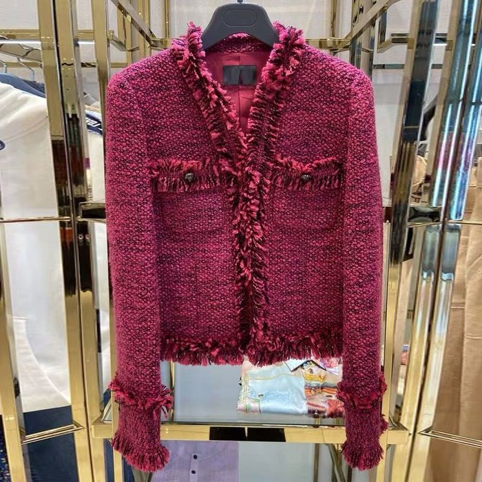 PapaDarling 20SS 時尚氣質小香風 玫酒紅色輕熟粗花呢 短外套 小外套