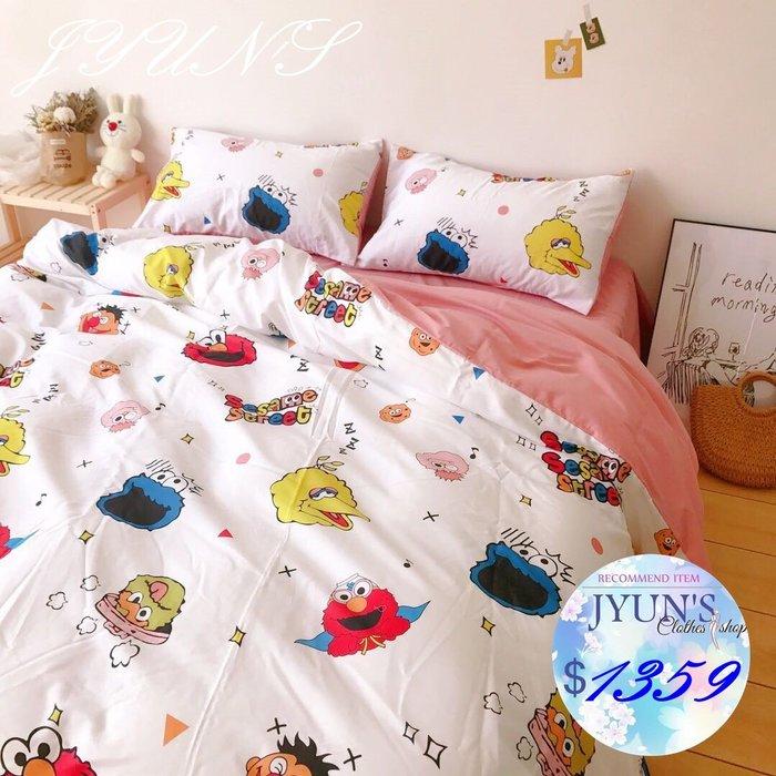 JYUN'S 實拍 新款ELMO芝麻街全棉柔軟親膚嬰兒孕婦床單枕套被套 成套床包組 床笠&床單 四件套 2色 3款 預購