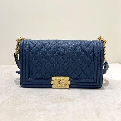 Chanel Boy 25 菱格紋 荔枝皮 金釦 藍色《精品女王全新&二手》