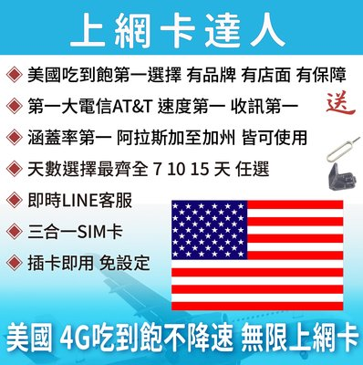 7天 上網卡 高速4G 吃到飽 不降速 美國 阿拉斯加 加州 紐約 夏威夷 即插即用免設定 有效期限至03/31