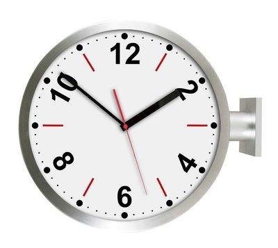 [On Loft]-double sided clock歐洲雙面鐘 高鐵 車站鐘 設計旅店咖啡店-15寸銀色雙面紅色數字