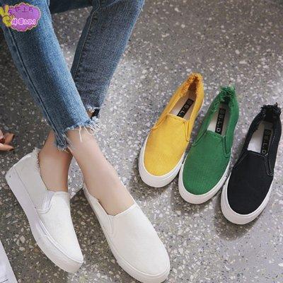 韓國MM = 春季新款百搭學生一蹬腳懶人鞋女帆布鞋子拉毛休閒板鞋小白鞋 =帆布鞋/休閒鞋/娃娃鞋/平底鞋/豆豆鞋/人字拖