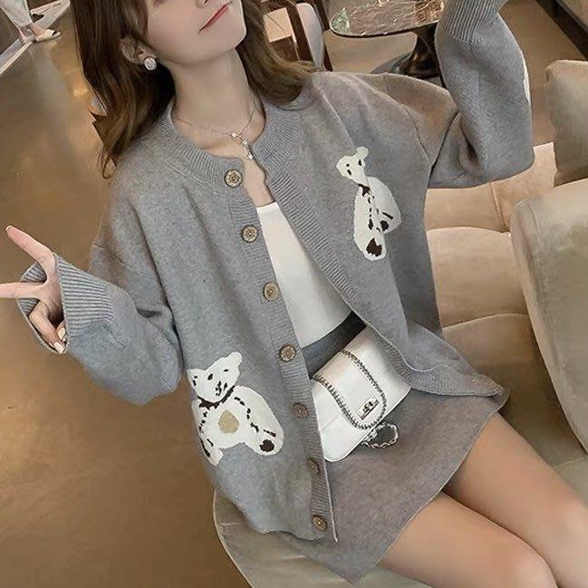 *Angel  Dance*長袖兩件套(2色)@韓國 法式風格 小熊 外套+半身裙 針織 毛衣 套裝 顯瘦@現貨+預購