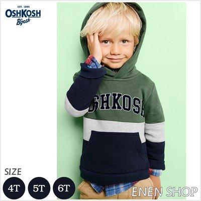 『Enen Shop』@OshKosh Bgosh logo經典款拼色刷毛帽T #38115911|4T/5T/6T