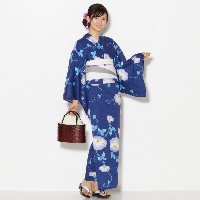 01日本 全棉和服浴衣 藏藍底牽牛花 朝顏