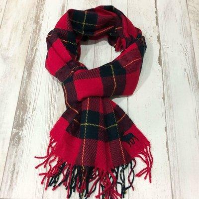 Maple麋鹿小舖 Abercrombie&Fitch* AF 男生紅色格紋大麋鹿LOGO圍巾*( 現貨 )