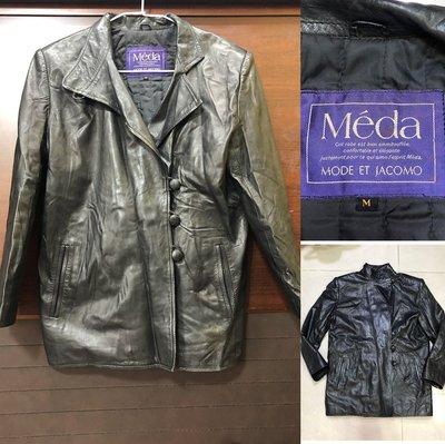 低價競標~日本製Méda MODE ET JACOMO羊皮皮衣外套 風衣式皮衣 騎士皮夾克 雙排扣皮外套 mJ參考