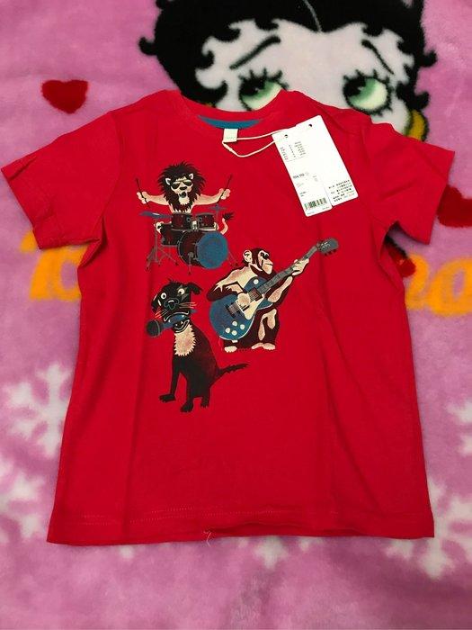 Esprit 紅色動物樂團短袖T恤/104-110全新附吊牌