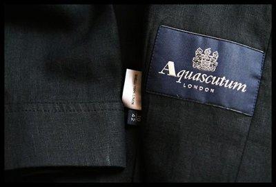 歐碼42【Aquascutum of London】黑色單排三扣100 % 天然亞麻七分袖小A傘西裝外套