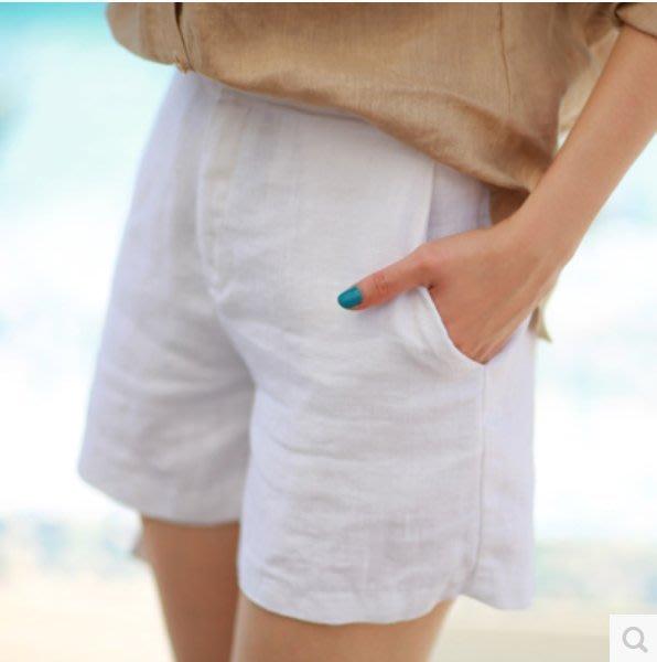 【艾蜜麗】版型好 回購率高~ 原生亞麻高品質休閒簡約短褲(有內裡)