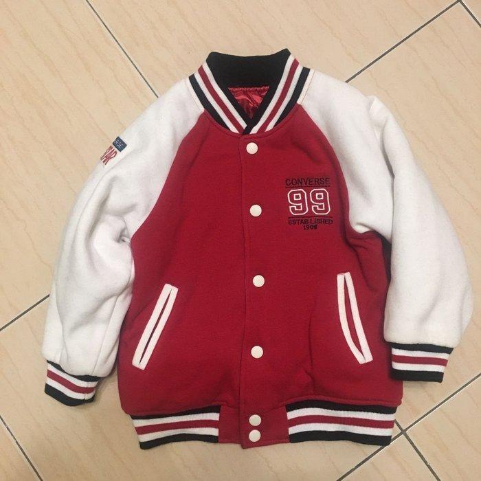 日本保暖棒球夾克-紅白亮麗 男女童適穿 -尺寸120