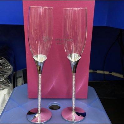 I-PRIMO 香檳杯2入(附盒子) 內鑲水晶高腳杯
