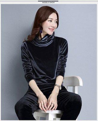 Color Fashion秋季韓版純色金絲絨素T內搭寬鬆長袖上衣 G825156女衣女裝上衣T恤