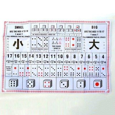 大細 骰寶 紙上遊戲 新年 節日 年初一 派對 禮物 賭具 賭博 GAMBLING DICE PARTY 連3粒骰子 色子 骰粒 骰仔 1-6 數字色粒 $10