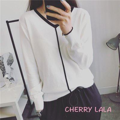 CHERRY LALA 韓國單實拍V領顯瘦麻料撞色長袖針織衫-白/黑 J03301   韓妮 chic