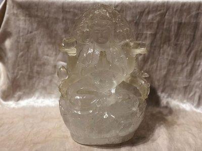 白水晶八臂觀音晶雕