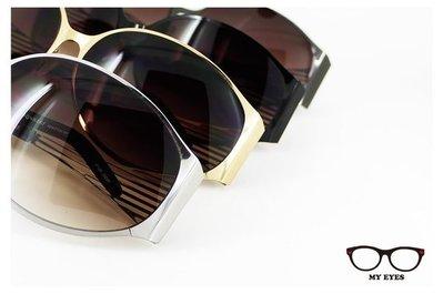 【My Eyes 瞳言瞳語】Bonkers薄片金屬中性太陽眼鏡 鏡側鏤空條紋設計 寬臉適合
