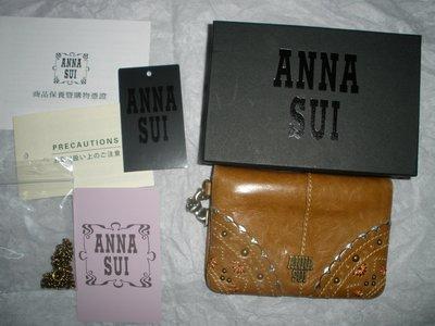 Anna Sui 安娜蘇 棕色 真皮 復古 古銅 民族風 花邊 車票夾 證件 信用卡 專櫃正品 附原廠盒