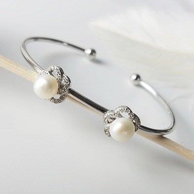 珍珠 手 環 925純銀手鍊-6.5mm幾何微鑲情人節母親節禮物女飾品2款73qn39[獨家進口][巴黎精品]