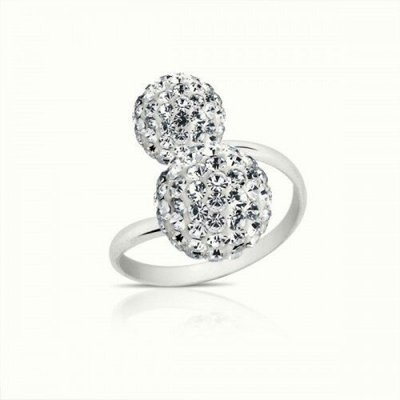 Kapal-Laut 純銀鑲鑽水晶戒指Double glitz crystals silver ring可調式戒圍
