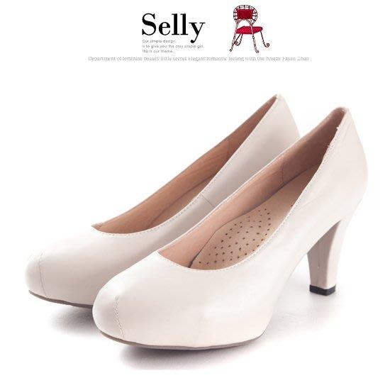 Selly outlet 靜音鞋跟真皮厚底粗跟包鞋(M060)杏米38號 NG304