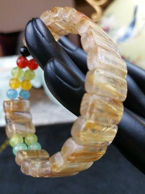 (頭等艙精品館)鈦晶手環 鈦晶手練 鈦晶手排手鏈 金髮晶手環 金髮晶 水晶 手鍊