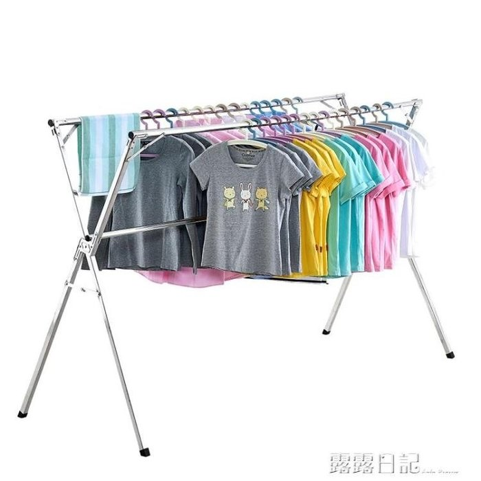 摺疊曬衣架落地臥室內家用陽台簡易涼衣架曬架涼晾衣桿不銹鋼伸縮 全館免運