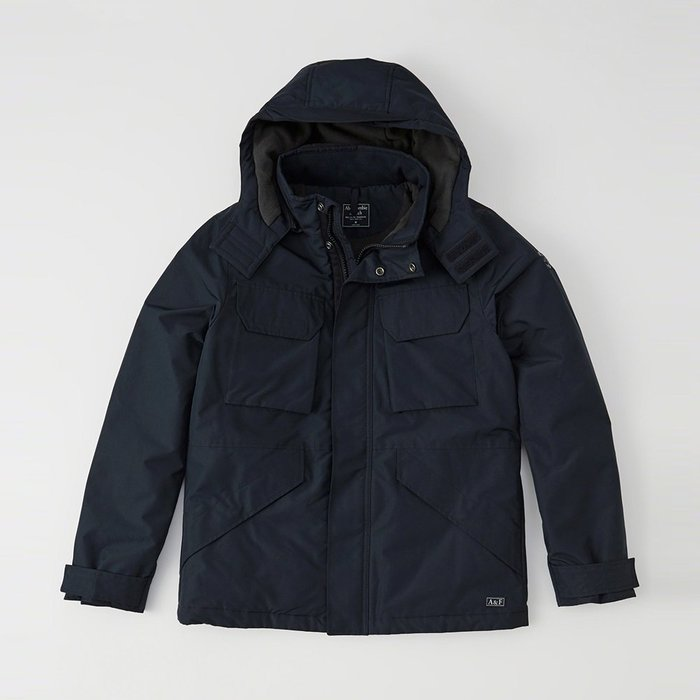 美國百分百【Abercrombie & Fitch】外套 AF 連帽 夾克 麋鹿 風衣 大衣 防風 保暖 深藍 I510