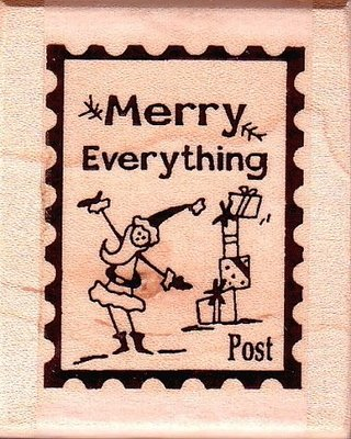 陽光一品DIY卡片印章專賣店~~ 木頭印章~聖誕老公公郵票框章~#M4566#~美國製進口章