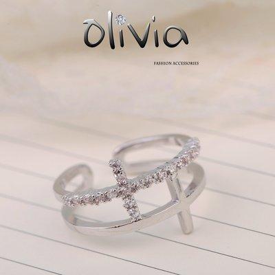 戒指 雙十字架施華洛世奇水鑽厚鍍14K真金開口戒指【KA02924】Olivia Fashion