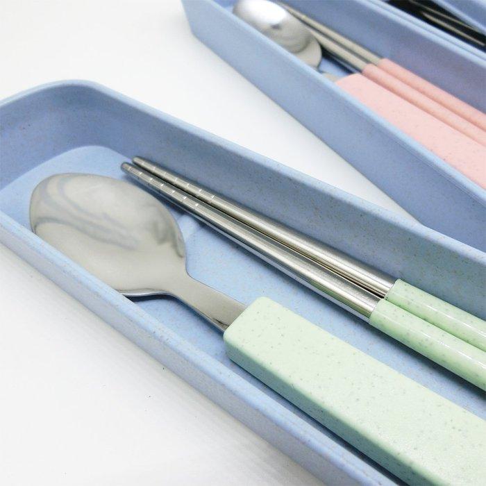 質感簡約便攜環保不鏽鋼餐具組 小麥收納盒