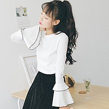 喇叭袖長袖T恤女學生韓版新款秋裝女裝小清新甜美上衣打底衫