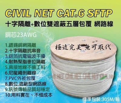 [瀚維-100M] CIVIL NET 網路線 CAT.6 SFTP 23AWG 純銅芯 鍍錫銅網+鋁箔遮蔽 另售 大同