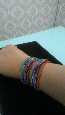 施華洛世奇水晶皮革手工製磁扣手鍊Kapal-Laut Mixed beaded bracelet Magnet lock