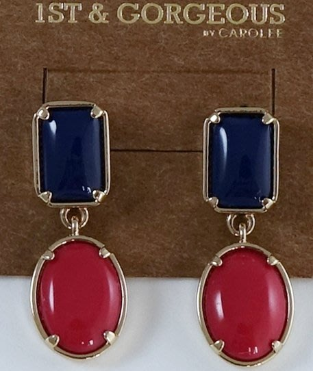 全新美國帶回 CAROLEE 1ST & GORGEOUS 藍紅雙色年輕款穿式耳環,附原廠防塵袋與禮盒!無底價!免運費!