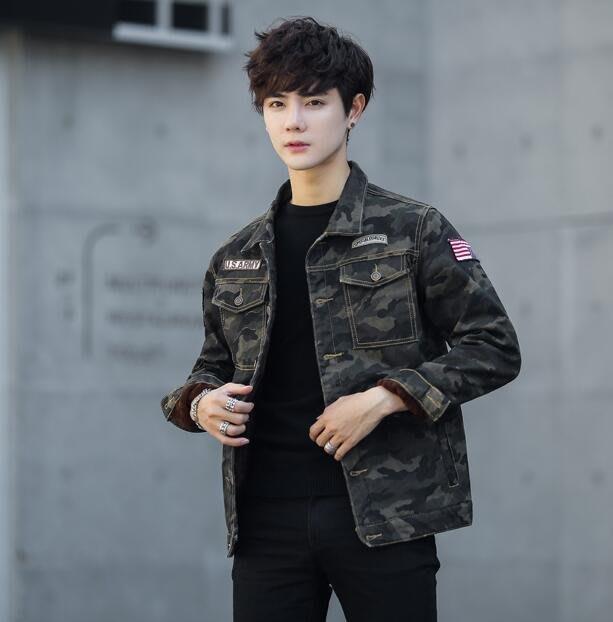 韓版之家秋冬裝新款 工裝迷彩夾克加絨牛仔外套 D83