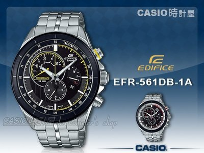 CASIO 時計屋 卡西歐手錶 EDIFICE EFR-561DB-1A 三眼計時男錶 不鏽鋼錶帶 防水100米 視距儀
