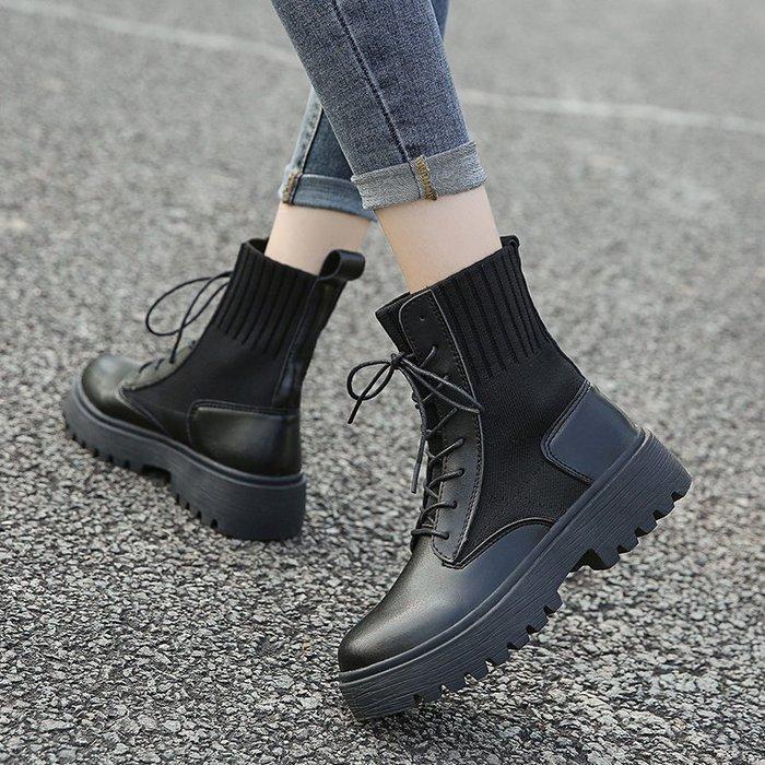 冬季保暖女靴 馬丁鞋 長靴機車靴 韓版百搭馬丁靴女ins季春秋襪靴百搭英倫風透氣帥氣機車短靴子