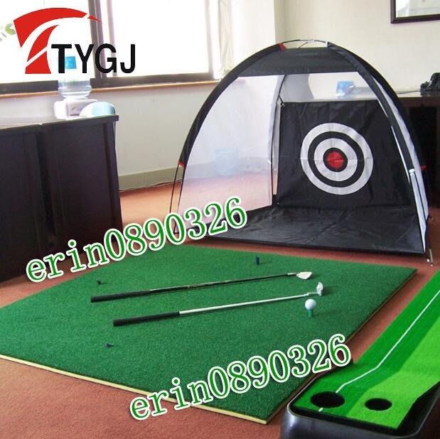 酷兒の體育 正品 TTYGJ 天宇高爾夫 室內打擊籠 高爾夫練習網+打擊墊 揮桿練習器套裝 送球桿